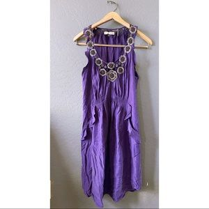 Rebecca Taylor Silk Beaded Medallion Purple Dress